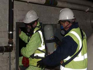 Engineers are now attempting to enter the Kerosene tanks in a confined space area to remove the last of the kerosene to prevent any further spillages