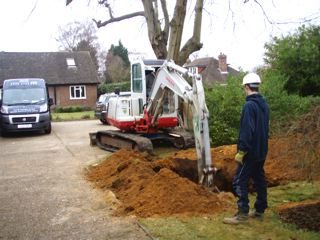 Shows excavation carried out with a banks man present to ensure health and safety is adhered to
