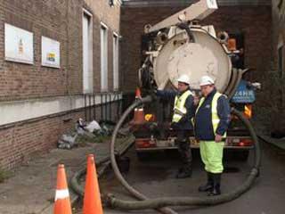Tankers preparing to remove Kerosene spillage from basement level